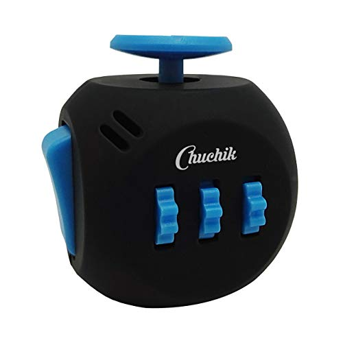 Chuchik Best Fidget Cube Toys. Prime Desk Toy, Reduce Anxiety and Stress Relief for Autism, ADD, ADHD & OCD (Black-Blue) by Chuchik (Image #7)