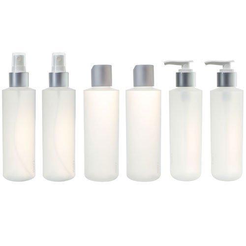 6 oz Clear Natural Refillable Plastic Squeeze Bottle with Silver Top Set (6 pack) - 2 each - Spray Bottle, Disc Cap Bottle & Pump ()