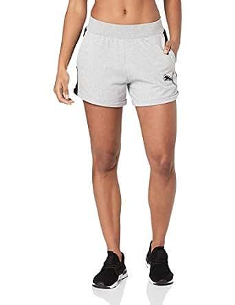 "PUMA Women's Rebel Reload 4"" Shorts, Light Gray Heather, XS"