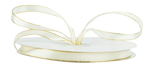 Ivory Wired Satin Ribbon - Ribbon Bazaar Double Faced Satin with Metallic Edge 1/8 inch Ivory (Gold Edge) 50 yards Ribbon