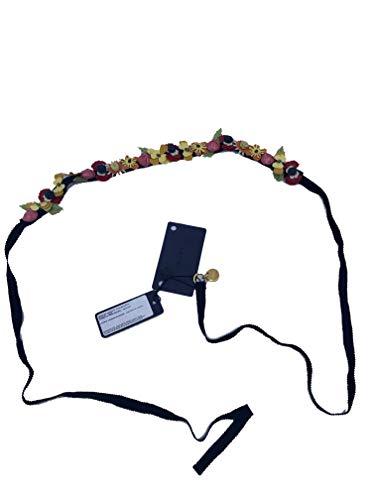Prada Women's Collane in Pelle Tu Nero Black Vernice Garden Flower Belt Strap 1IC017