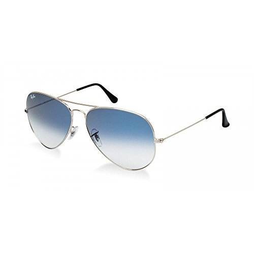 RAY-BAN RB 3025 AVIATOR SUNGLASSES (58 mm, 003/3F SILVER CRYSTAL WHITE/GRADIENT - Green Ray Blue Ban Aviator