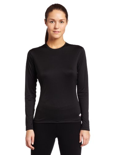 Hot Chillys Women's Peach Crewneck Tee (Black, Large)