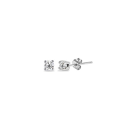 Sterling Silver Cubic Zirconia 2mm Tiny Round Unisex Tiny Stud Earrings, 3 Metal Color Options