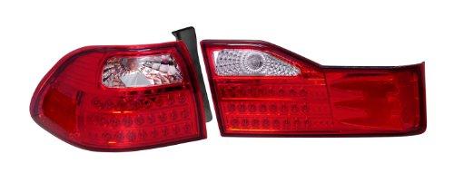 Depo 317-1328FXASVCR Honda Accord Sedan Chrome LED Tail Light with Clear/Red Lens (Accord Led Depo Honda Tail)