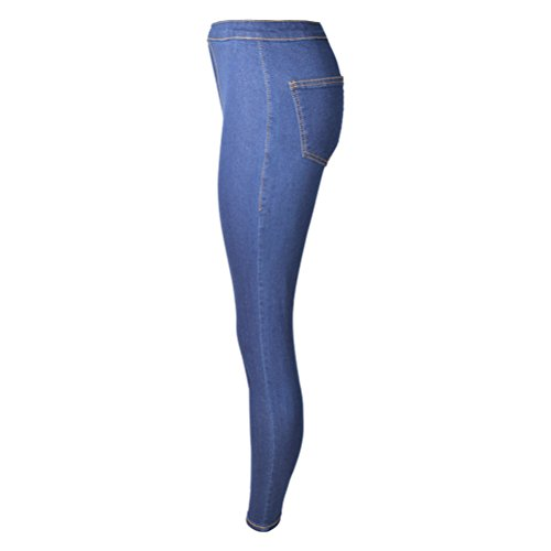 Skinny Oudan Denim In Blu Casuali Scuro Elastico Basic Donna Normale Jeans Pantaloni Vita Leggings xrprqw