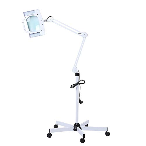 Salon Magnifying Lamp, LED 5X Cold Light Stand Adjustable Rolling Floor Stand Swivel Arm Magnifier Light for Beauty Facial Spa Tattoo Skin Care Clean, US Plug from Yosooo