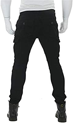 XXL- Mens Motorcycle Pants Protection Lining Motorbike Trousers with 2 Pair Protect Pads Black Waist 38.5