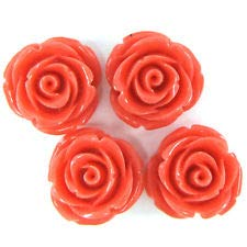 8 20mm Synthetic Coral Carved Rose Flower Pendant Bead Rose Pink (Coral Flower Rose Carved)