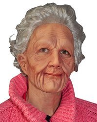 Zagone Super Soft Old Woman Mask, Grey Balding Wrinkly Old Man (Lady Costume Mask)