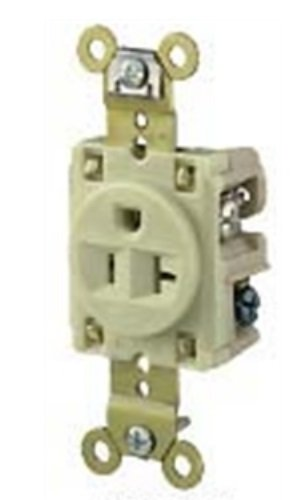 Hubbell Wiring Systems HBL5361I Extra Heavy Duty Standard Single Receptacle with Straight Blade, 20A, 125V, Ivory