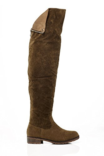 Lady Godiva Womens 236 Over The Knee Boot with Zipper Closure Olive Suede Size -