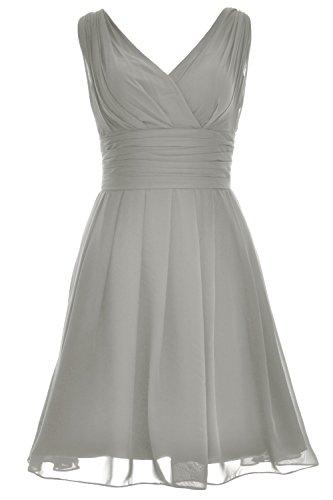 MACloth Elegant Short Bridesmaid Dress V Neck Wedding Party Formal Gown Silber efMssgn0iX