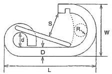 水本 ステンレス R型フック 線径6mm長さ64mm LR6