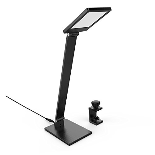LED Desk Lamp with Clip, BESTEK 2 in 1 Dimmable Touch Table Lamp, Clamp On Office Light with 3 Brightness Levels, Adjustable Arm