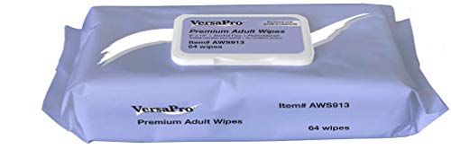 (VersaPro AWS913 Premium Adult Wipes, Washcloths, Pre-moistened, Enriched with Aloe & Lanolin, 9