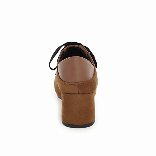 Carolbar Donna Stringate Quadrate Retro Ox Scarpe Tacco Medio Marrone