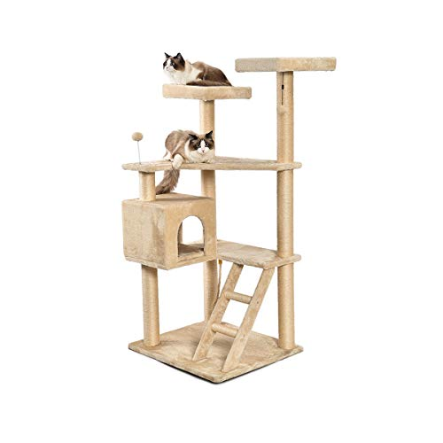 AmazonBasics Extra Large Multi-Level Cat Tree with Condo And Step Ladder - 31.5 x 70.5 x 29 Inches, ()