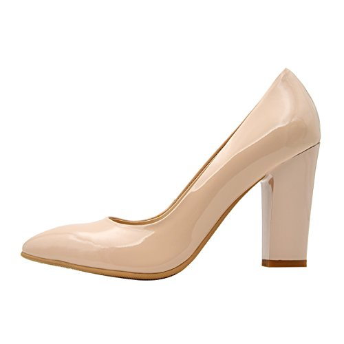 Verocara Women Pointed Toe Block Heel Genuine Patent Leather Dress Pump Shoes