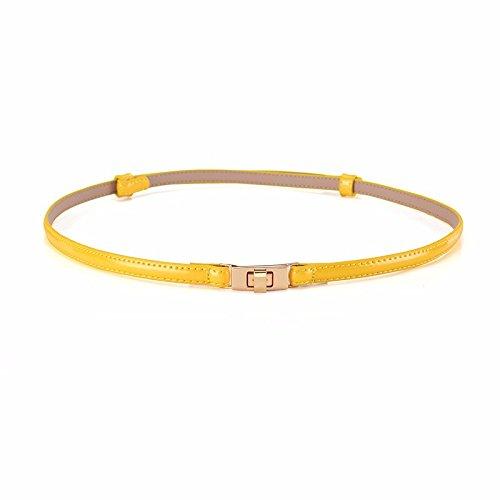 Woman Patent Waist Dress Fashionable Belt Bright Belt Leather Khaki Decoration Yellow Leather rZwErqa