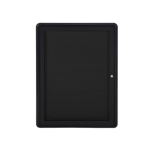 34''x24'' 1-Door Ovation Bulletin Board, Black Fabric, Black Frame by Ghent