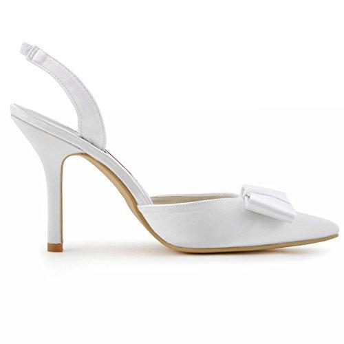 sandale bride Escarpins Blanc de HC1404 Chaussures arc pointu bout Elegantpark arrière mariée Femmes Satin qxRwIf8TT