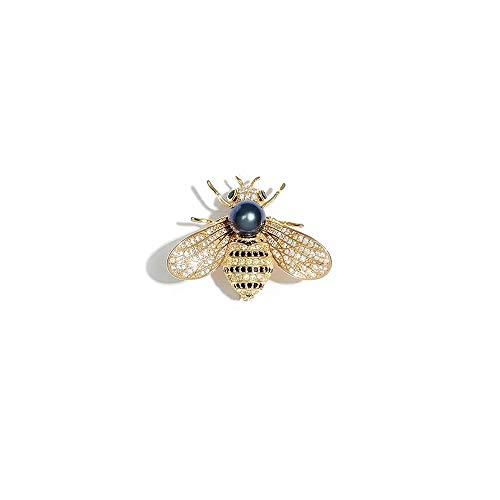 den Yellow Bee Brooch Pin Rhinestone Jewelry Animal Brooch Pendant Necklace ()