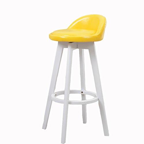 AIDELAI Stool chair Beech Wood Bar Stool Vintage White Color Rotating Chair Bar Stool Bar Chair High Chair Bar Stool Reception Saddle Seat (Color : F)