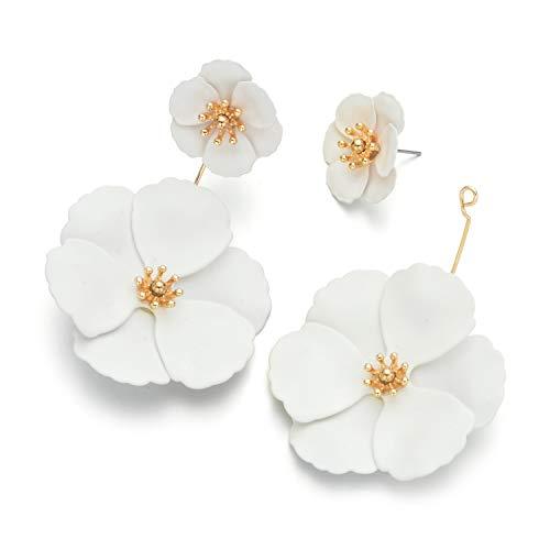 Metal Matte Dual Flower Petal Tiered Earrings Pierced Garden Party Drop Dangle Earrings For Women (Beige)