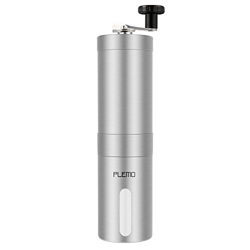 Plemo Manual Coffee Grinder, Conical Ceramic Burr Coffee Bean Grinder, Brushed Stainless Steel, Easy to Clean and Use (Coffee Grinder And Blender compare prices)