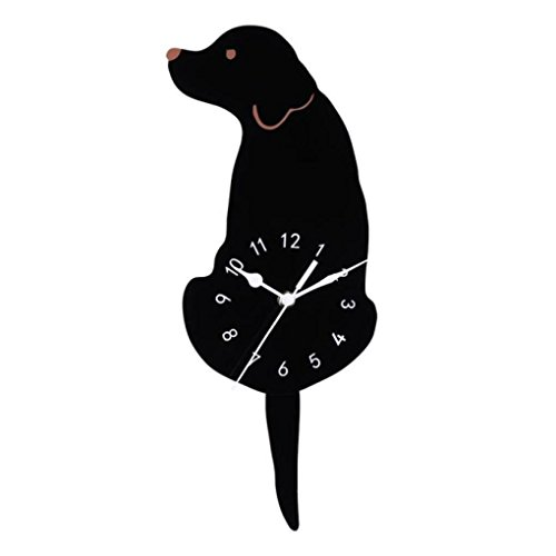 (3D Creative Dog Acrylic Wall Clock with Swing Tail Silence for Living Room Bedroom Kitchen Home Décor - Battery Not Included)