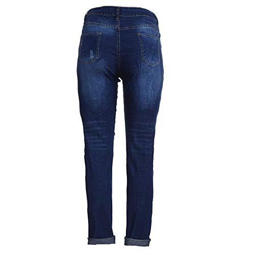 Bolawoo Pour Femme D'été Plus Pantalon Sarouel Mode Haute Chic Stretch Déchiré Bloomers Jeans Taille Jean Slim Blau Décontracté qzpUMLSVG