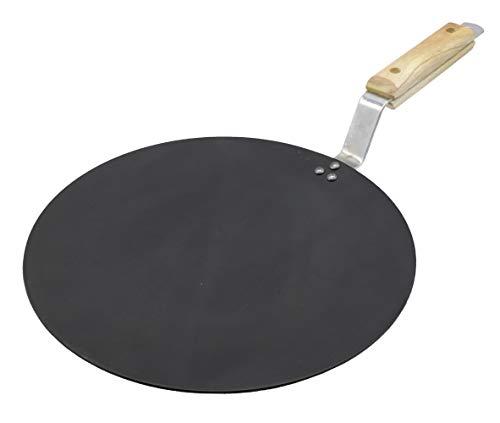eKitchen Induction Base Carbon Steel Tawa, 11 Inch, Black