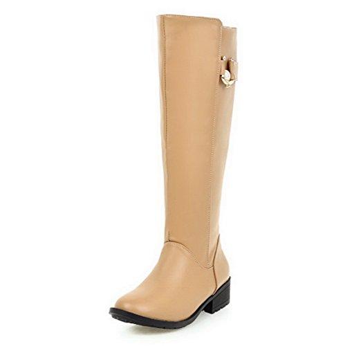 VogueZone009 Damen Hoch-Spitze Weiches Material Rund Zehe Stiefel mit Anhänger, Aprikosen Farbe, 37