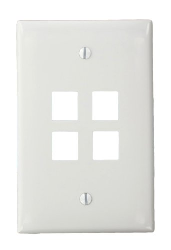 - Leviton 41091-4WN QuickPort Midsize Wallplate, Single Gang, 4-Port, White