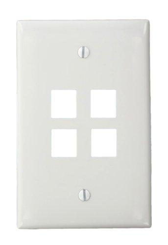 (Leviton 41091-4WN QuickPort Midsize Wallplate, Single Gang, 4-Port, White)