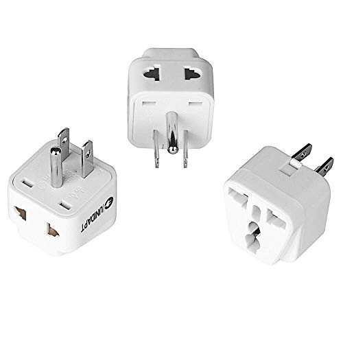 US Plug Adapter - Unidapt EU Europe to USA American Travel Power Plug Adapter - Dual Inputs - Safe Grounded - Universal Socket (Pack of 3)