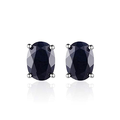 CAIYCAI 1.7Ct Natural Black Sapphire 57Mm Oval Stud Earrings For Women Lady Sterling Silver Jewelry Sapphire onesize