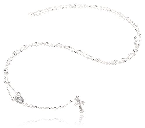 - 925 Sterling Silver 3mm 24 Inch Beaded Rosary Necklace with Dangling Cross (I-1520)