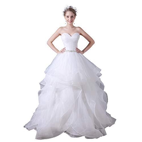 YUEZHIMENG Haute Couture Women's Wedding Lace Strapless Elegant Temperament Princess Wedding Dress Adult/Children Dress Evening Dress,US2