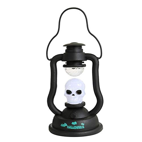 Halloween Lantern Decorative LED Lamp Sounding and Flashing Flame Light for Halloween Home Table Decorations - Skull -