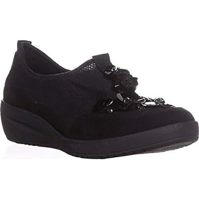 Anne Klein AK Sport Women's Yael Sneaker, Black/Multi Fabric, 5 M US