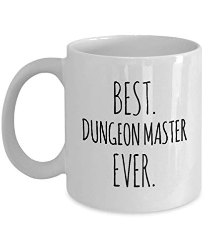 Dungeon Master Mug Best Ever Funny Coffee Gifts - DM Dragons D20 Dice Roleplaying Nerdy Tabletop RTS RPG Card Boardgame - Minimalistic Women Men Tea Cup 11 oz or Large 15 oz Whizk M1B0263
