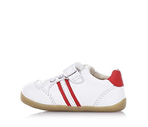 BOBUX - Chaussure Step Up Trackside blanche en cuir, made in New Zealand, avec fermeture en velcro, lacets élastiques, bébé garçon