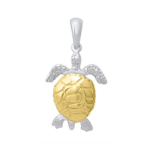 (925 Sterling Silver Nautical Charm Pendant, and14k Gold 3-D Moveable Sea Turtle, High)
