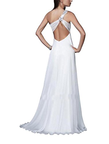 Schein Applikationen BRIDE Abend GEORGE Schulter Mantel Perlen Spalte Weiß mit Vorder einer Kleid wFX66Rxaq