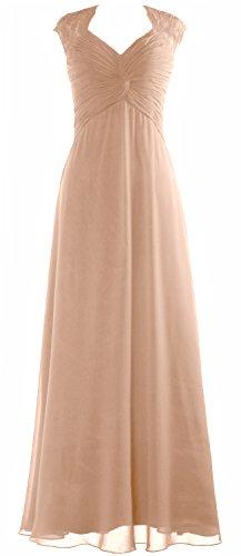 MACloth Women Cap Sleeve Lace Long Prom Dress Chiffon Wedding Party Formal Gown (18w, Champagne) (Plus Size 90s Fancy Dress)