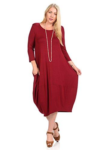 Pastel by Vivienne Women's Cocoon Midi Dress Plus Size XX-Large Burgundy