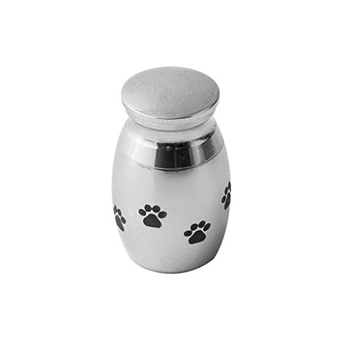 Pet Ashes Memorial Container Pendant,Haluoo Stainless Steel Mini Cremation Memorial Ashes Holder Container Pendant With Dog Claw Pattern Polishes Silver ,0.70.50.9″ Container Size (Silver)