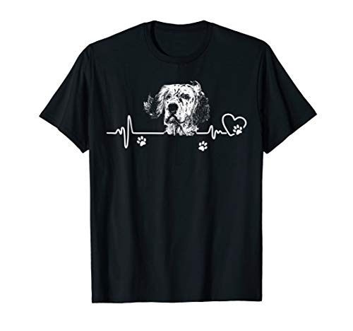 My English Setter always in my heart - heartbeat shirts